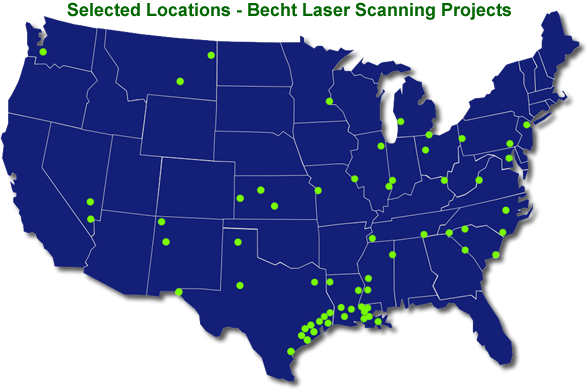 Map of Becht Laser Scanning Projects