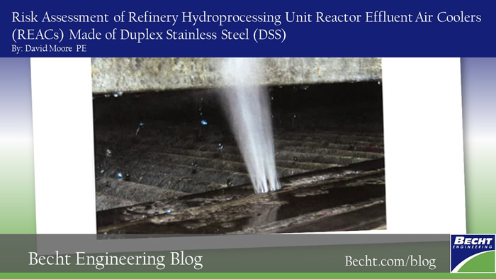 Risk Assessment of Refinery Hydroprocessing Unit Reactor Effluent Air Coolers (REACs) Made of Duplex Stainless Steel (DSS)