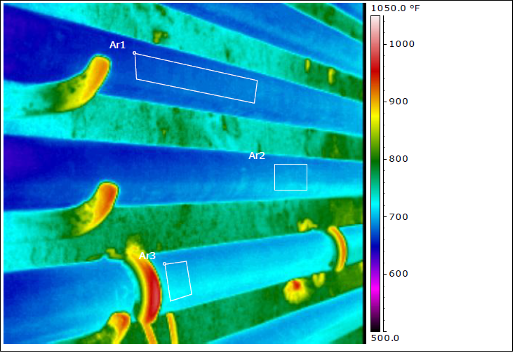 Hot and cool areas are show on an image taken by an IR camera.
